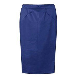 Dresses & Skirts - BLUE PU MIDI SKIRT